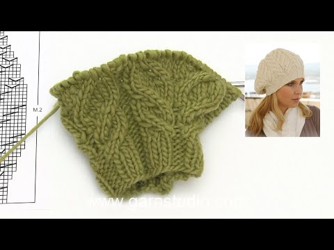 How to knit the basque hat with cables in DROPS 123-20