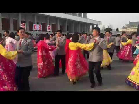 A choreographed dance routine in Pyongyang, North Korea