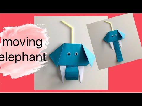 Spielzeug selber basteln - lustigen Elefant basteln für Kinder - moving paper toys - kidscraft