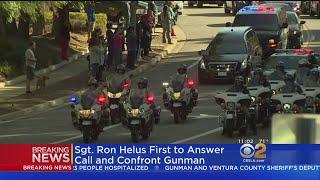 Bystanders, Firefighters Salute Body Of Slain Ventura County Sheriff's Sergeant