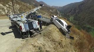 Car flew off cliff - Recovery by Pepe's Towing