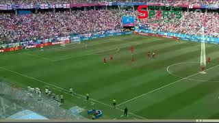 Panama trying to score a goal while England players are celebrating