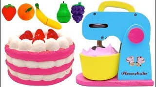 Strawberry Cake Blender & Mixer Playset Play Doh Learn Colors for Kids