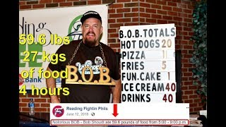 59.6 lbs (27 kg) of food in 4 hours World Record -  2018 Reading Phillies Gluttony Night