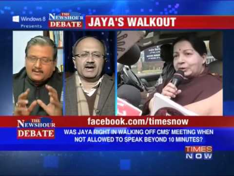 The Newshour Debate: J Jayalalithaa walks out of NDC meet (Part 1 of 2)