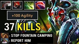 CANCER MID IS BACK! +100 Agi Crazy Machine Gun Nyx 37 Kills Fountain Camp Brutal Dota 2