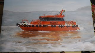 REALISTIC BOAT PAINTING | CANVAS PAINTING | BY SIBA SAHU