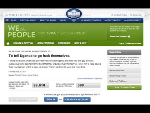 """F*@% Uganda"": White House Petition Asks Obama to Curse Country Over Anti-Gay Laws"