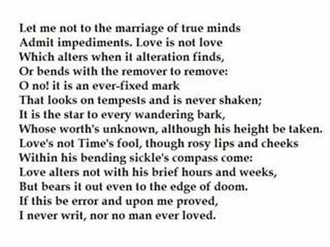 sonnet 116 and ghazal Sonnet 43 language and themes sonnet 116 is by william shakespeare this is the perfect sonnet, this sonnet focuses on the idea of love is.