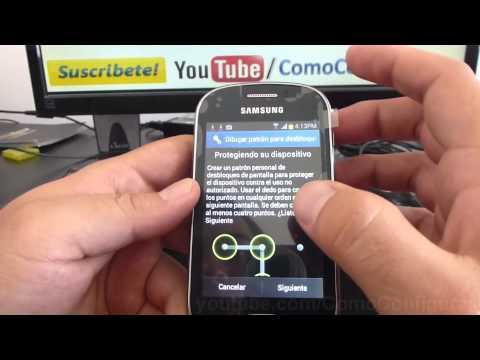 Como configurar un patron de bloqueo samsung galaxy Fame S6810 español Full HD