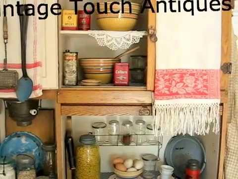 Antique Kitchen Display With Hoosier Cabinet Youtube