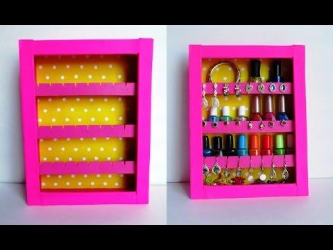 Diy jewelry holder earrings holder nail polish rack recycling diy jewelry holder earrings holder nail polish rack recycling cardboard boxes do it solutioingenieria Gallery