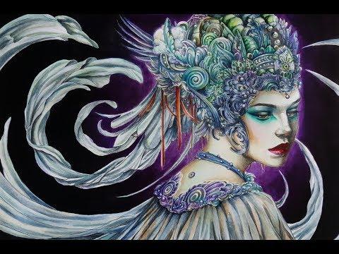 Coloring Progress I SERENE By Nick Filbert WATERCOLOR