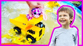 Toy Dump Truck Jet Ski + Underwater Monster truck Arena