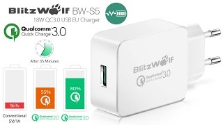 BlitzWolf BW-S5 18 Вт Qualcomm Quick Charge 3.0. Распаковка и тест!