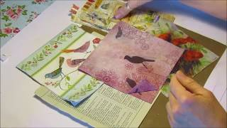 Decoupage Paper Napkin to Book Pages - Ideal for Junk Journals