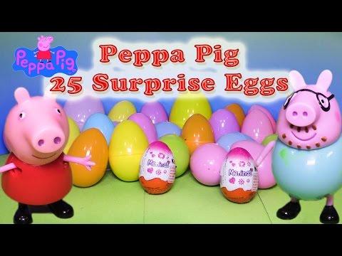 PEPPA PIG Nickelodeon Peppa Pig 25 Surprise Eggs a Peppa Surprise Egg Video