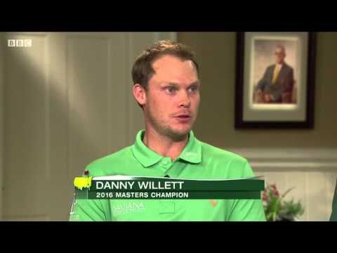 Jordan Spieth presents the Green Jacket to Danny Willett at The Masters 2016