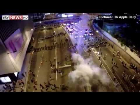 Hong Kong Protesters Reject Call To Go Home. Drone Captures HK Police Charge