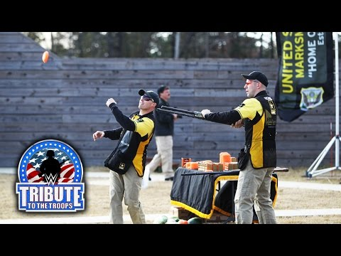 WWE Superstars attend a skeet shooting demonstration: WWE Tribute to the Troops 2014