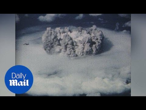 1946: Aerial view of Bikini Atoll atomic bomb explosion - Daily Mail