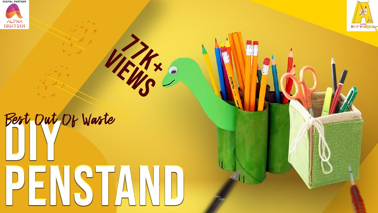 Diy penstand best out of waste empty plastic bottles for Best out of waste for class 1