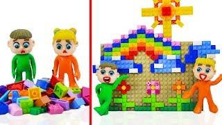 SUPERHERO BABY BUILDS LEGO HOUSE 💖 Stop Motion Cartoons Animation