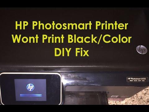 HP Photosmart 6525 6520 Printer Not Printing Black Ink -  HP Photosmart Printer Not Printing