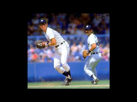 Final inning of the 1984 AL Championship Series - KC Royals vs Detroit Tigers, Ernie Harwell calls the plays, Paul Cary goes in the clubhouse to do interview...