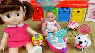 Baby Doll and Little dog Sand Boat with Pororo Poli toys