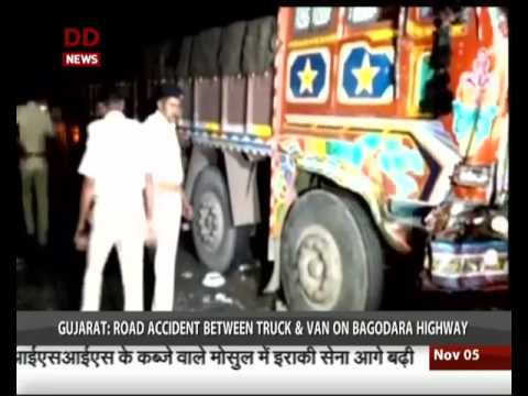 Gujarat : 14 people died in a road accident 16 kms from Hirajkot