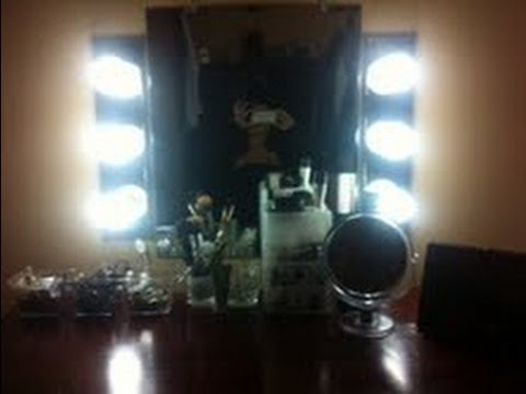 diy how to make a vanity mirror and lights youtube. Black Bedroom Furniture Sets. Home Design Ideas