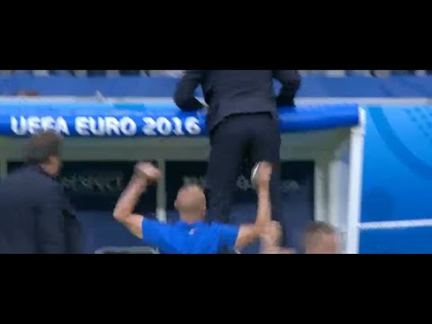 Antonio Conte insane celebration after 2nd goal vs Spain 27/6/2016