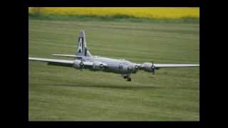 GIANT SCALE RC BOEING B-29 + B-17 BOMBERS - LMA AT ROUGHAM MODEL AIRCRAFT SHOW -  2012
