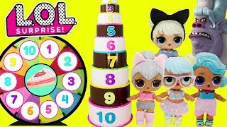LOL Surprise Dolls GIANT Cake Toy Surprises Spinning Wheel Game