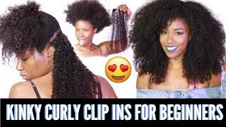 How To Install Clip ins for beginners | Kinky curly clip ins from HerGivenHair.com