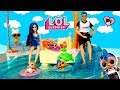 LOL Punk Boi Family Barbie Pool  Routine with LOL Vacay Baby Family