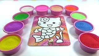 CON TRÂU! Nhạc thiếu nhi! Đồ chơi trẻ em TÔ MÀU TRANH CÁT HÌNH Mèo KITTY Colored Sand Painting