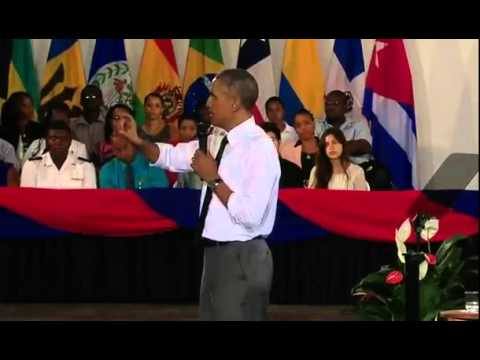 President Barack Obama Answers Marijuana Question from Rastafarian in Jamaica