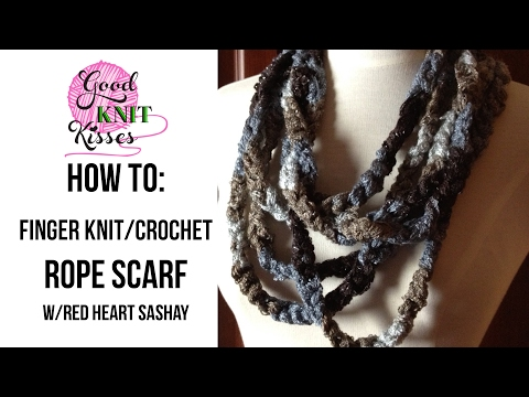 Easy Rope Scarf with Sashay ruffle yarn (with CC - closed captions)