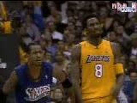Kobe Bryant with the NBA 2001 Dunk of the Year with a 1 handed alley-oop dunk right over the top of the 76ers in the NBA Finals.