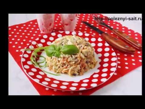 Салат с грибами, сыром и огурцами . Простой рецепт, вкусное блюдо.