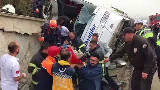 Kütahya'daki otobüs kazası anı güvenlik kamerasında