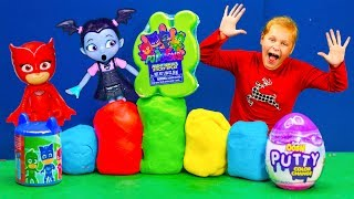 Assistant Play Doh Egg Surprise with PJ Masks and Vampirina and Muppet Babies