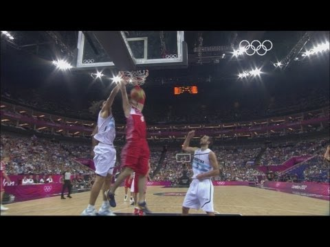 Russia take on Argentina in the bronze medal match of the men's basketball tournament at the North Greenwich Arena as part of the London 2012 Olympic Games. ...