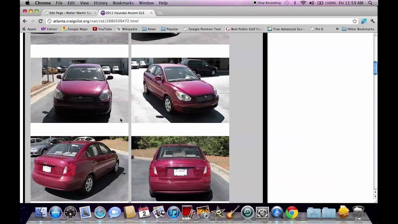 Craigslist Atlanta Cars >> Craigslist Atlanta GA - Local Used Cars at Dealerships in 2012 - YouTube