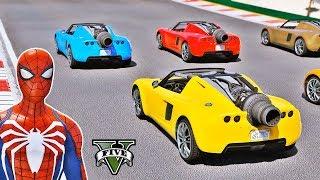 CARROS Foguete na Mega Rampa com Homem Aranha e Heróis - GTA V Mods - IR GAMES