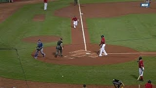 Pedroia scores on a wild pitch in the first