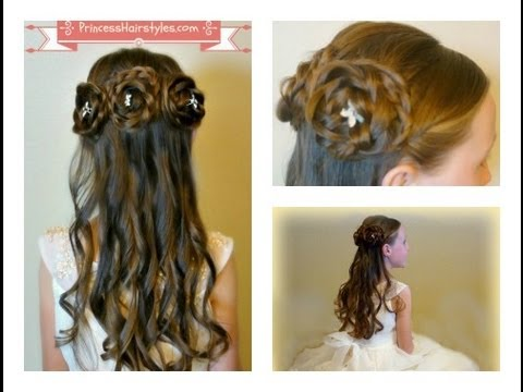 Half Up Rosette Buns. Flower Girl Hairstyles