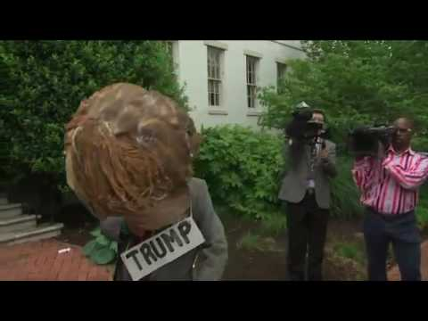 Protesters, Media Outside Trump-Ryan Meeting
